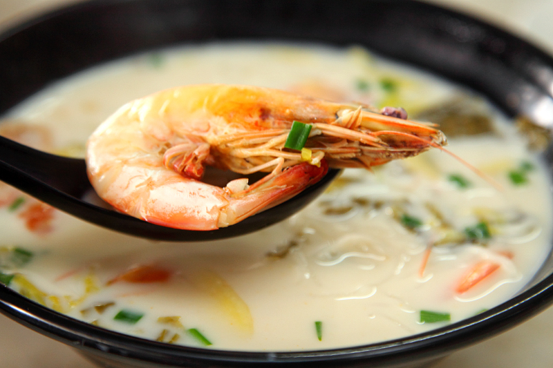 Norway salmon fish head Prawn Noodle