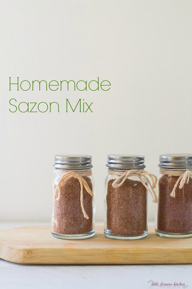 Homemade sazon seasoning makes a great gift when placed in a little spice jar and simply tied.