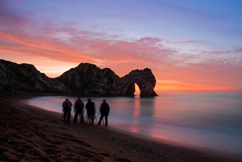 uk longexposure morning red sea sky beach silhouette sunrise dawn coast seaside nikon december arch dorset geology figures hdr englishchannel d800 2014 durdledoor jurassiccoast