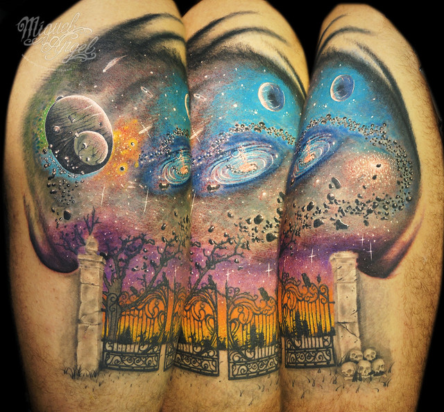 Custom milky way planets stars and nebulous tattoo for Milky way tattoo