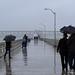 Enjoying the rain at Ocean Beach Pier
