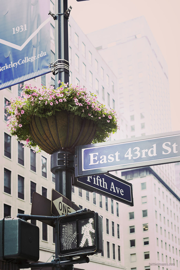 Fifth Avenue street sign and flower arrangement