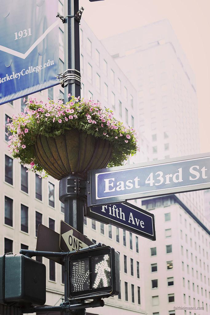 Fifth Avenue street sign and flower arrangement
