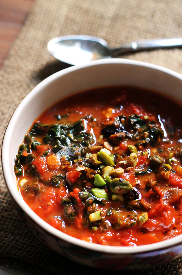 Tomato Soup with Brown Butter, Kale, and Pistachios | Joanne Eats Well ...