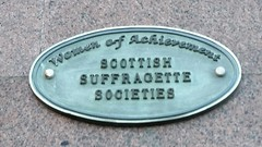 Photo of Scottish Suffragette Societies green plaque