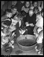 10-19-1948_05417 Tobbe vissen in de Jordaan