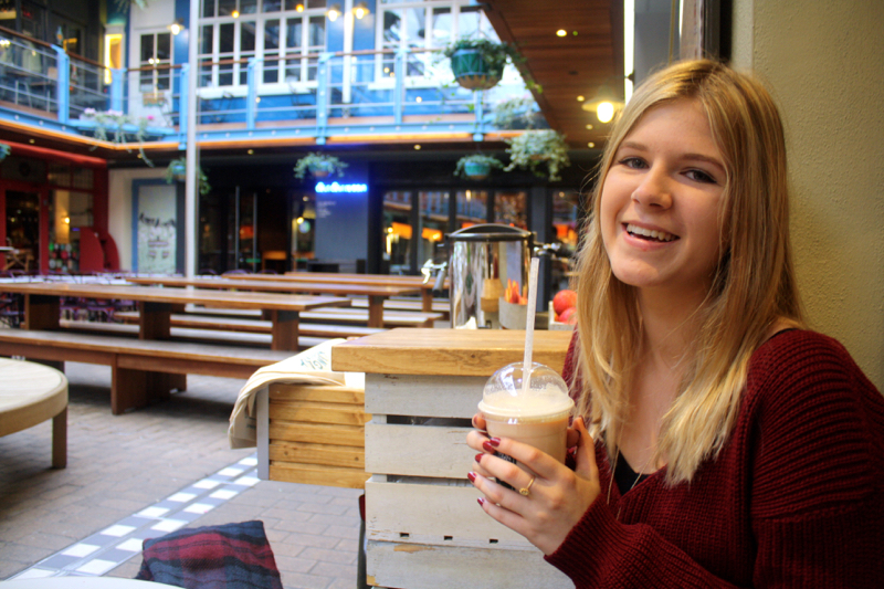 Enjoying a smoothie at Moosh Smoothie shop in Kingly Court, Carnaby Street