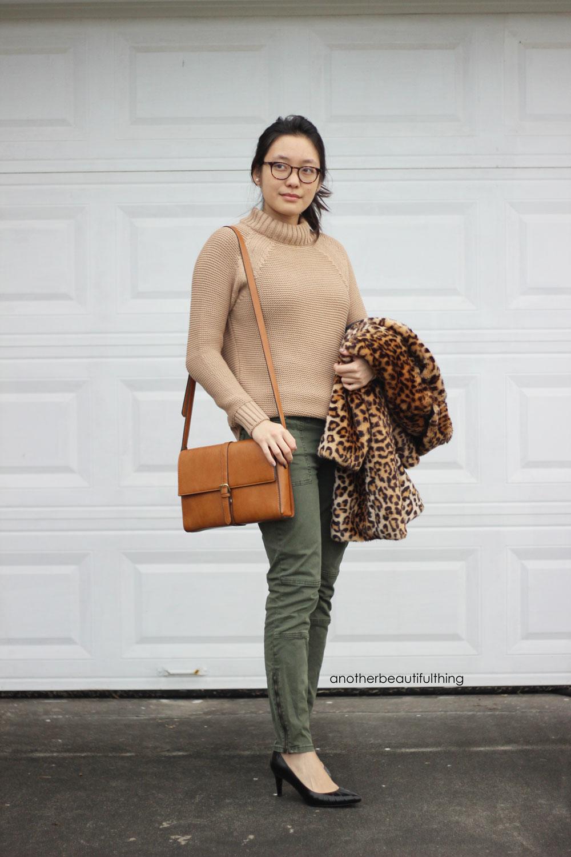 camel-mock-neck-sweater-and-leopard-jacket