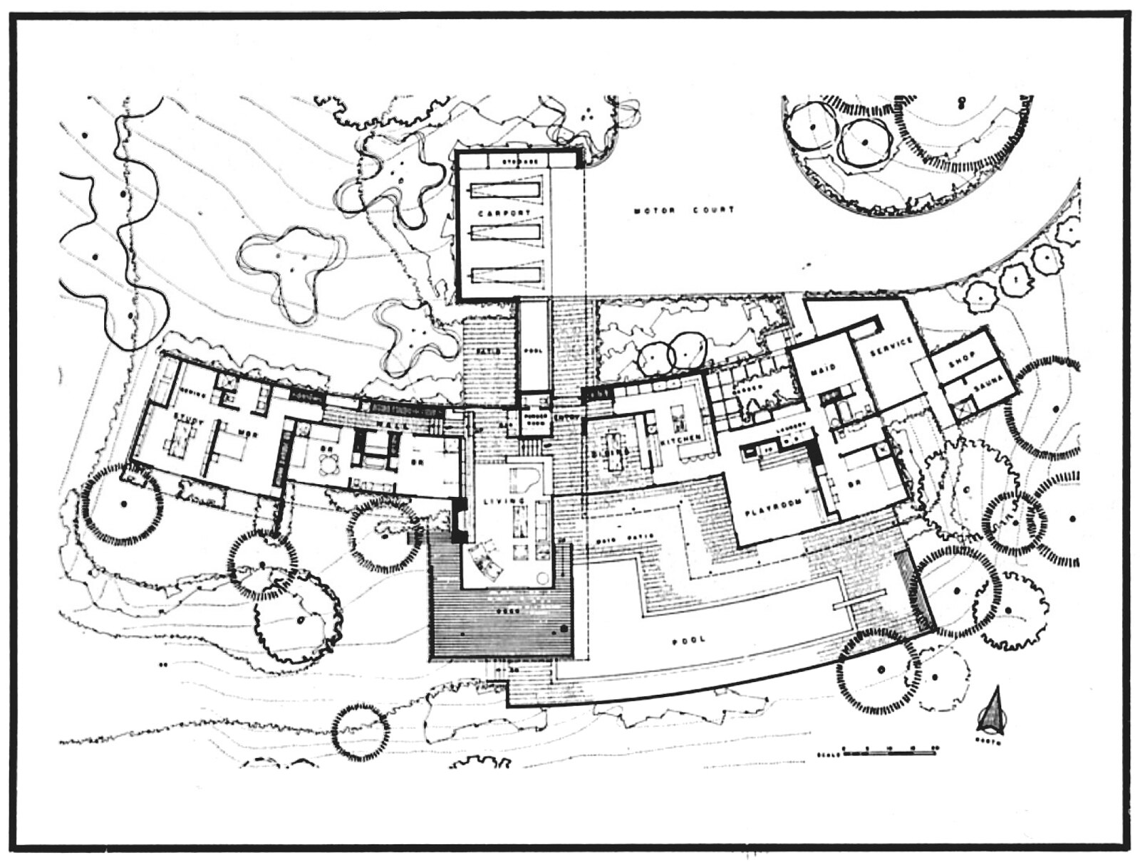 George Vernon Russell - Mallikin Residence - Southern California (1960) Floorplan