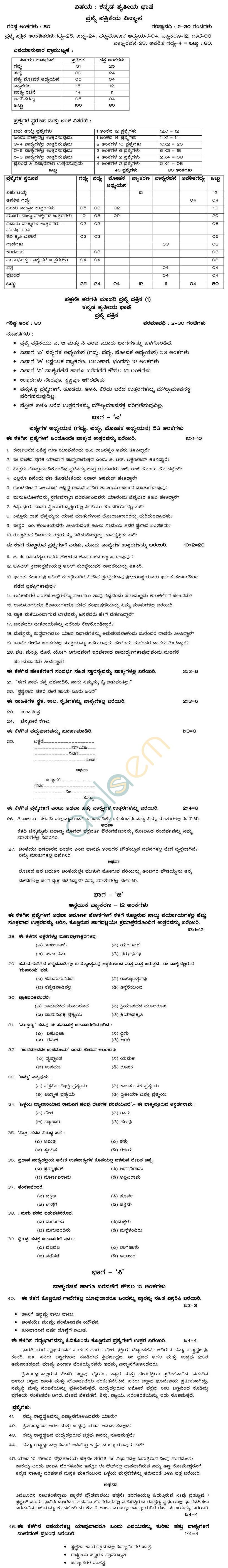 Karnataka Board SSLC Model Question Papers 2015 forKannada (III)
