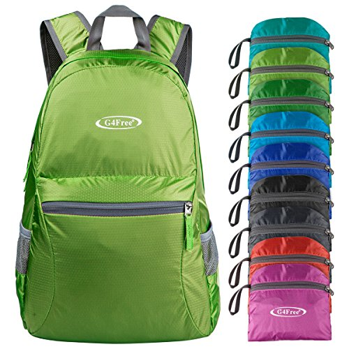 G4Free Ultra Lightweight Packable Backpack Hiking Daypack ,Handy Foldable Camping Outdoor Backpack(Green)