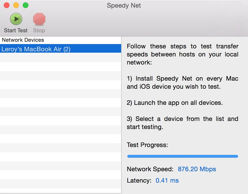 Speedy Net – LAN (MacBook Pro Retina) to LAN (MacBook Air)