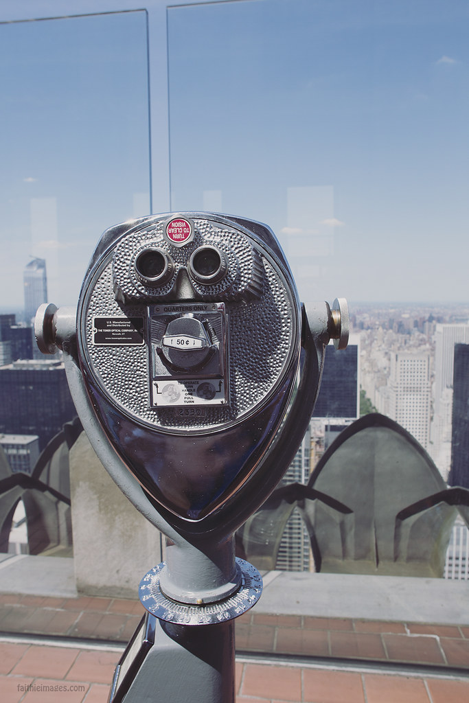 Rockefeller Centre Top of the Rock Observatory with viewfinder and vintage glossy magazine edit