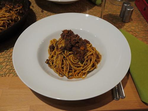 Spaghetti mit Soße aus Gehacktem vom Galloway Rind