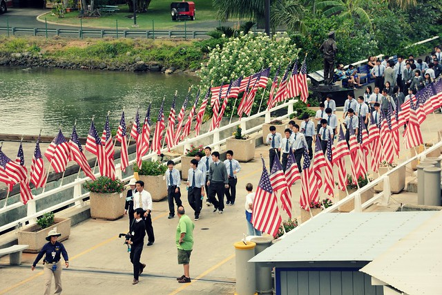 Japanese students visiting Pearl Harbour