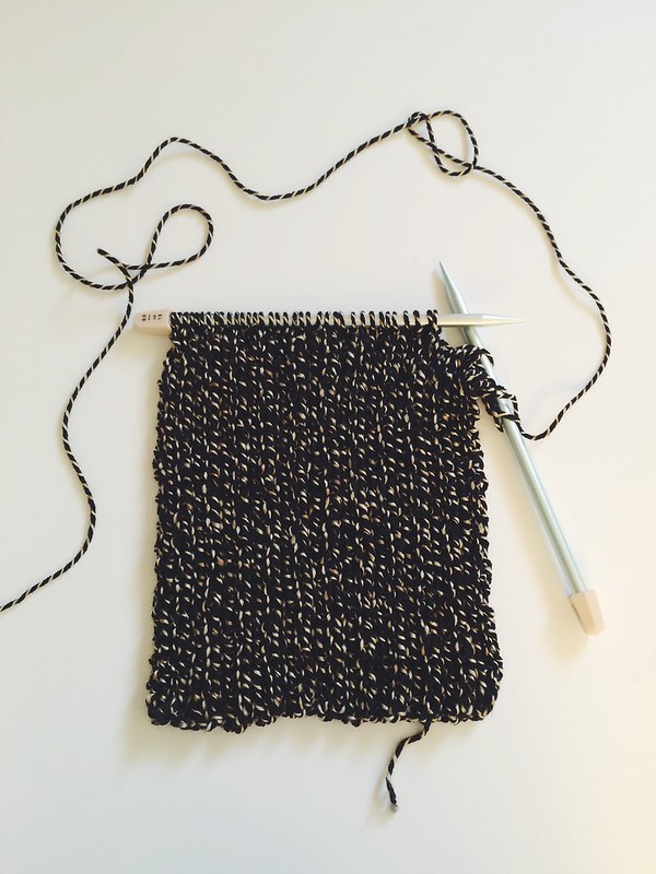 black knit infinity scarf progress