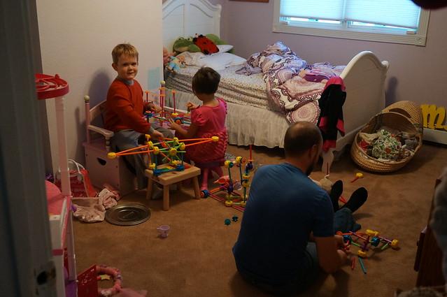 Alan playing with Mara and Noah