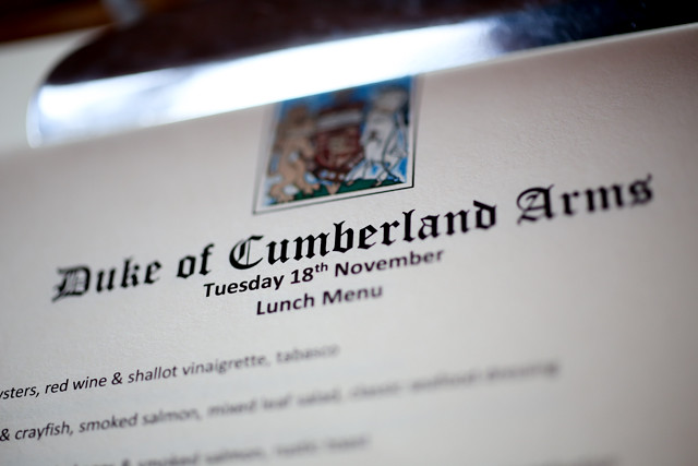 The Duke of Cumberland Arms Pub Menu