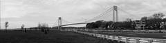 Verrazano–Narrows Bridge 12 Photo Stitched Panoramic - Black & White Version; Brooklyn, New York