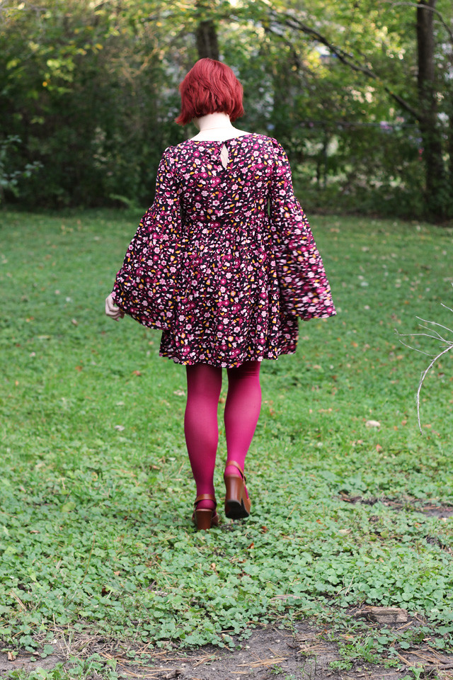 Floral Bell Sleeved Forever 21 Dress and Pink Tights