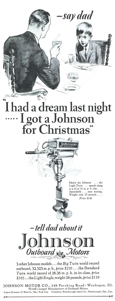 Johnson Outboard Motors - published in The American Boy - December 1927