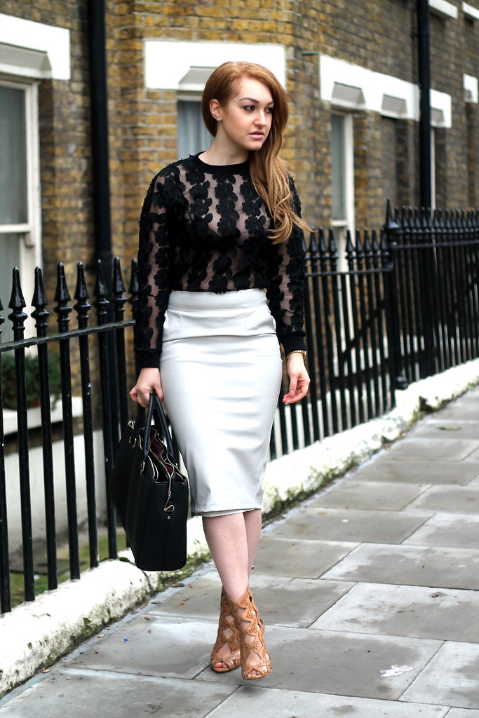 Black lace top and white pencil skirt (1)