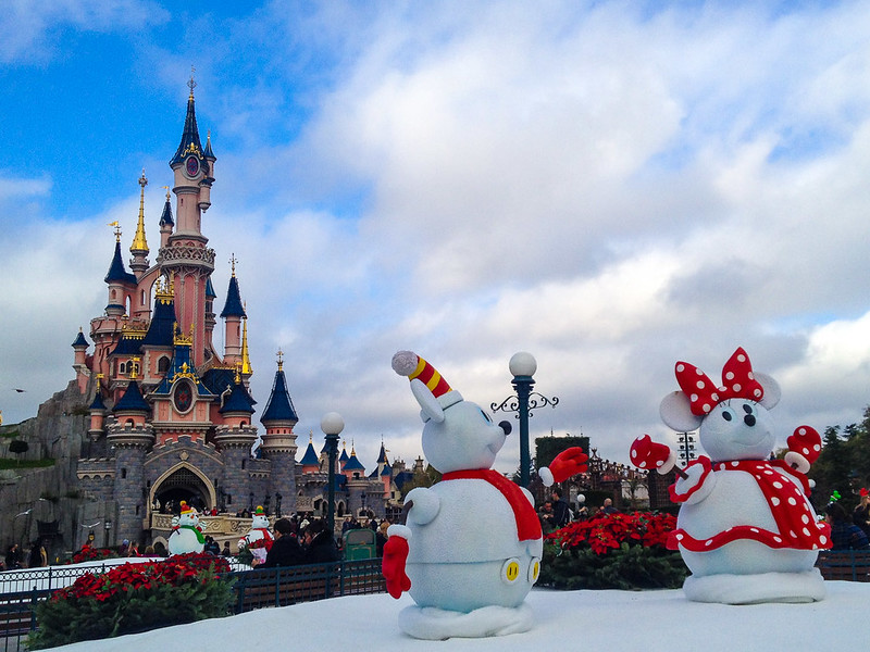 Mickey and Minnie Snowmen Decorate Disneyland Paris