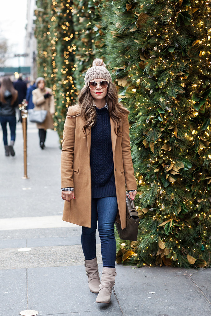 Banana Republic Sweater Banana Republic Checkered Shirt Coach Handbag Kate Spade Boots Zara Coat AG Denim Dolce & Gabbana Gold Lace Sunglasses fashion blogger nyc fashion blogger what to wear in the winter casual winter kate spade lexy ankle boots