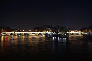 Le Pont Neuf et l'île de la Cité de nuit, Paris