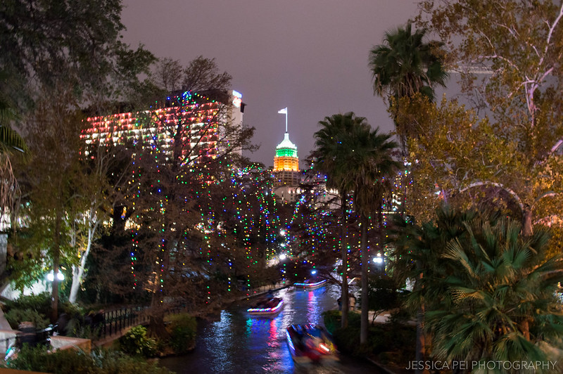 San Antonio Texas Courthouse from River Walk at Night