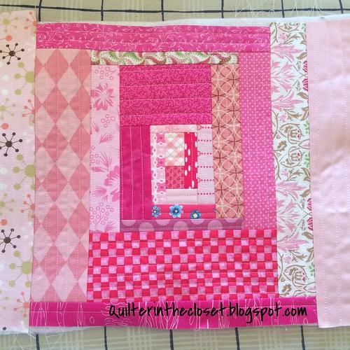 Pink QAYG Improv Scrappy Log Cabin