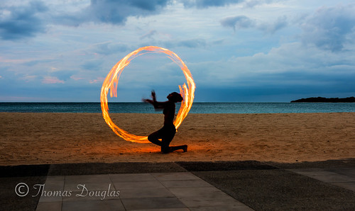 ocean sunset beach girl fiji fire sand spinning