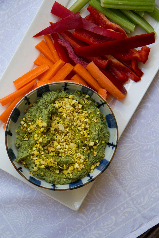 herby chickpea dip + peppery-turmeric dukkah