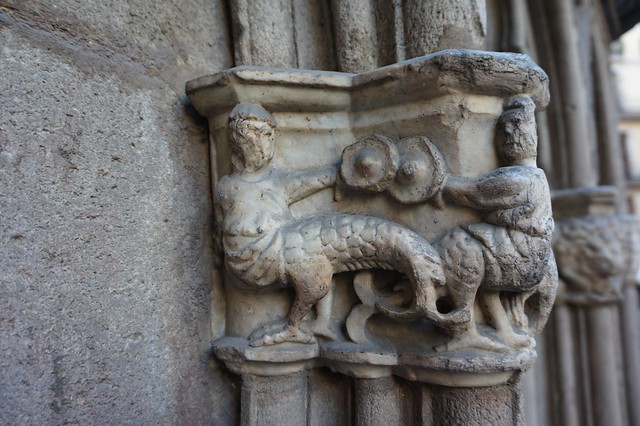 Romanesque capital at Barcelona Cathedral