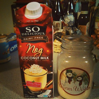 This stuff is delish...and perfect in my new #MasonJar mug! #SoDelicious #eggnog #CoconutMilk #yumo #TisTheSeason #Holidays #yumo #drinkup #christmas