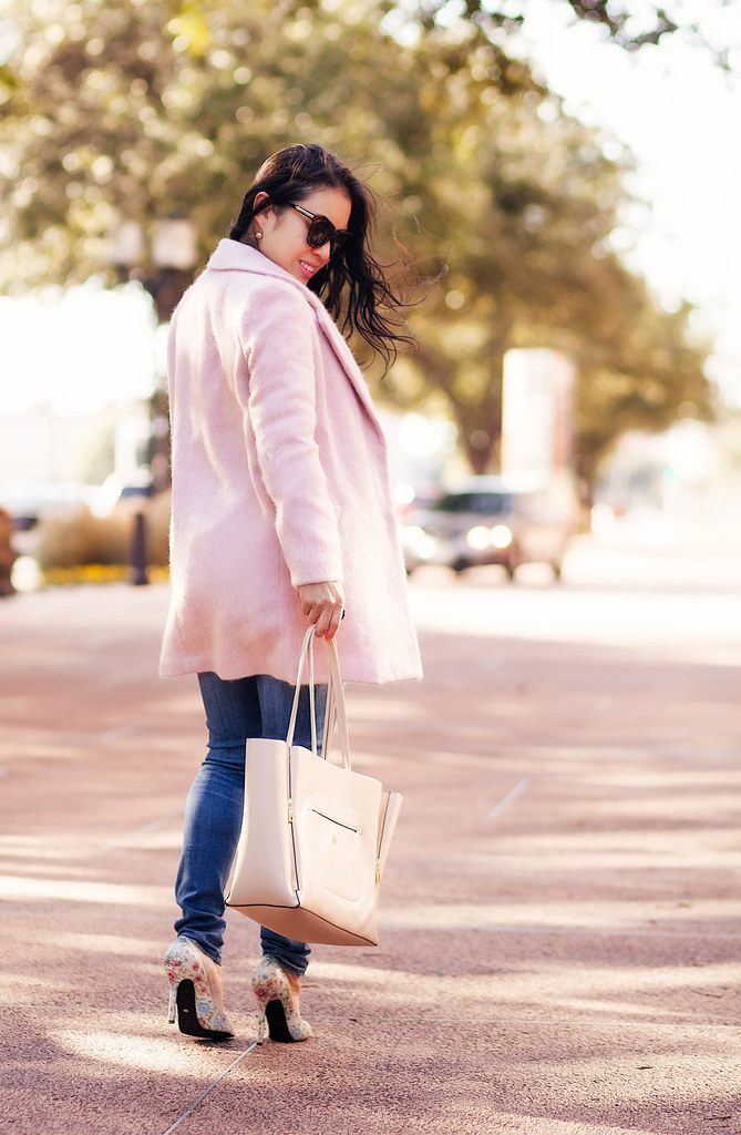 cute & little blog | petite fashion maternity | pink wool coat, pearl necklace, chunky white sweater, shoes of prey floral pumps, beige tote | winter layers outfit