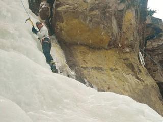 Kate Ice Climbing