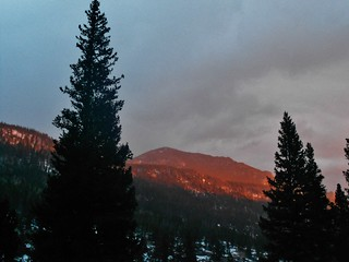 Alpenglow from Hidden Falls