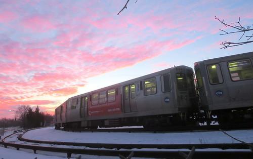 park morning blue snow chicago station forest sunrise cta authority terminal line transit chicagoist desplaines
