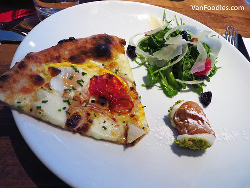 Novo Breakfast Pizza, Arugula & Blood Orange Salad and Canoli