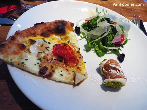 Novo Breakfast Pizza, Arugula & Blood Orange Salad and Canoli