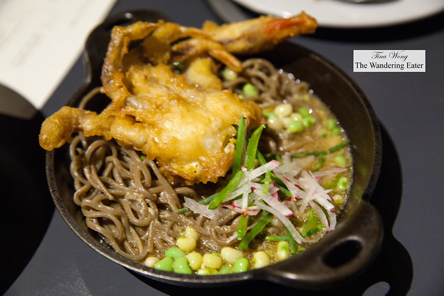 Black garlic noodle, egg drop dashi, soft shell crab