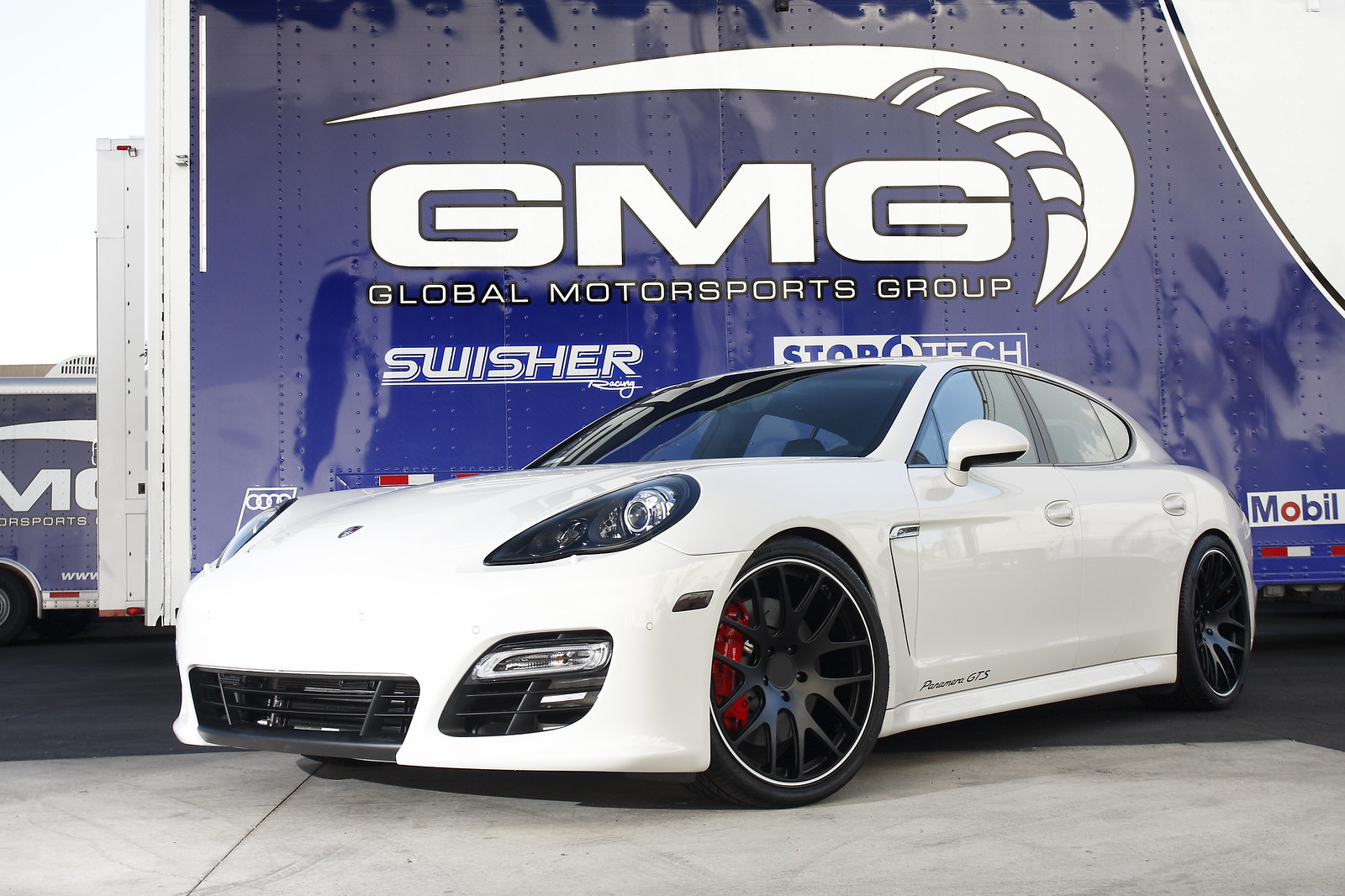white porsche panamera gts with gmg wc gt 22 forged wheels in satin black - Porsche Panamera Black And White
