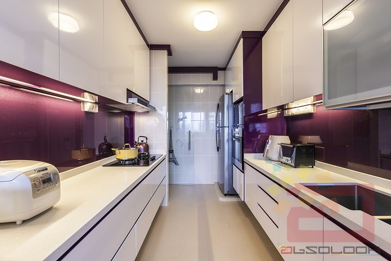 Go glam in the kitchen with purple backsplash  it also created a feast for  the eyes. HDB BTO 4 Room Modern Contemporary   Blk 782E Woodlands Meadow