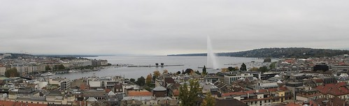 city panorama lake stpeters fountain architecture canon buildings switzerland view geneva cathedral roofs stpierre jetdeau 1000d