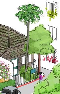 打開圍牆,讓社區居民共同維護老建築。圖片來源:Hello Green Life