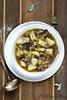 Soupe pommes de terre, poireaux et champignons