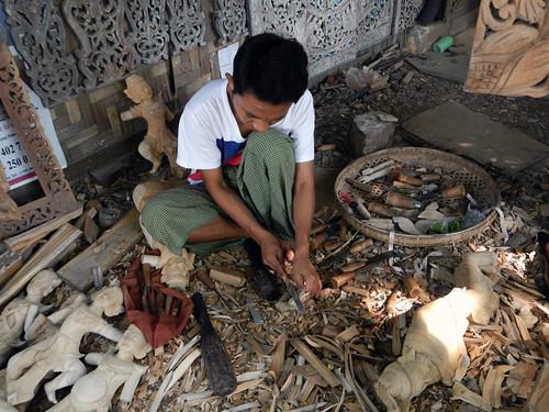 Mandalay Wood Carver at Work