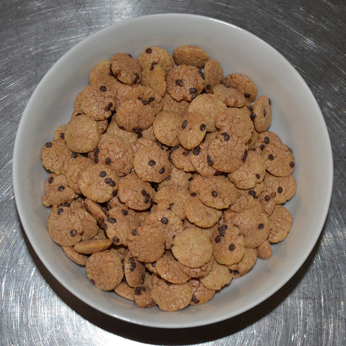 A bowl full of Cookie Crisp - note how the pieces shimmer with sugar.