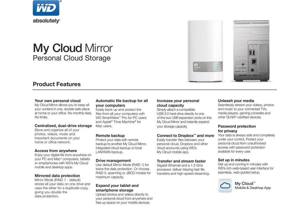 My Cloud Mirror - the solution for back ups and file sharing